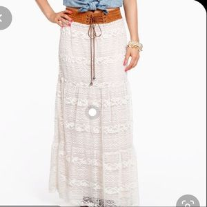 Cecico Ivory Lace Western Maxi Skirt